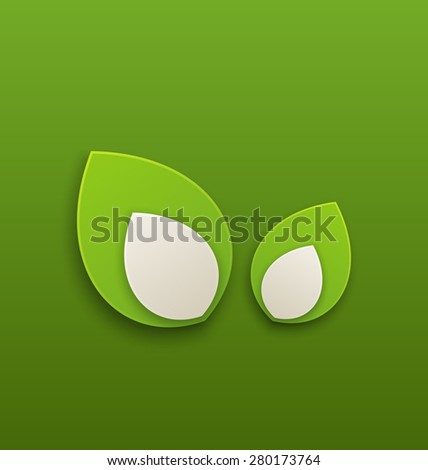 Illustration green paper leaves, eco friendly background - raster - stock photo
