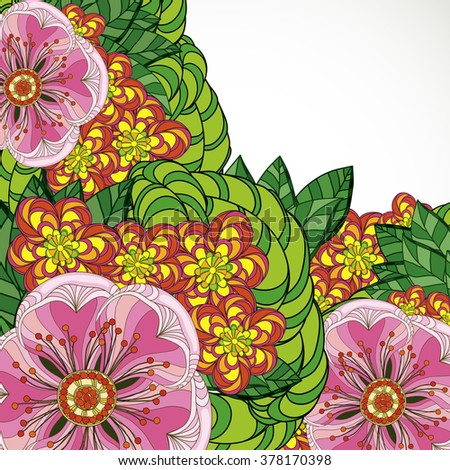 Illustration greeting card beauty and fashion. Background with flowers and leaves. Zentangl, doodling. Adult coloring books. - stock photo