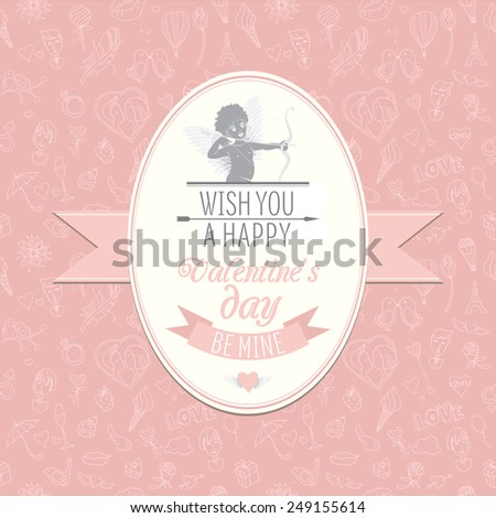 illustration Greeting card with cute Cupid. Festive Valentine's Day seamless pattern. Wish you a happy Valentine's Day. Be mine - stock photo