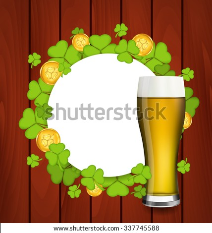 Illustration greeting card with glass of light beer, shamrocks and golden coins for St. Patrick's Day - raster - stock photo