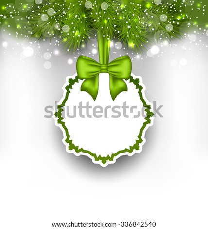 Illustration Greeting Paper Card with Bow Ribbon and Fir Twigs, Shiny Background - raster - stock photo