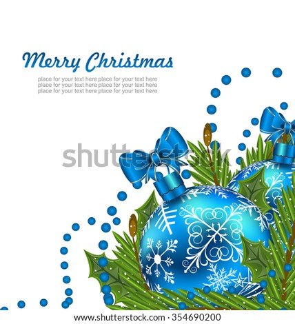 Illustration Greeting Postcard with Christmas Balls and Adornment - raster
