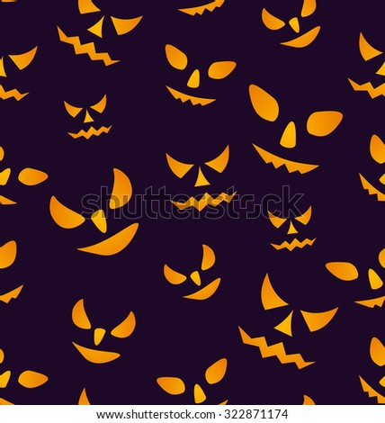 Illustration Halloween Seamless Pattern with Angry Eyes, Scary Decoration - raster - stock photo