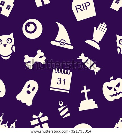 Illustration Halloween Seamless Pattern with Traditional Symbols - raster - stock photo