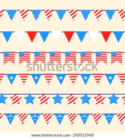 Illustration Hanging Bunting Pennants for American Holidays, National Symbolic Decoration - raster - stock photo