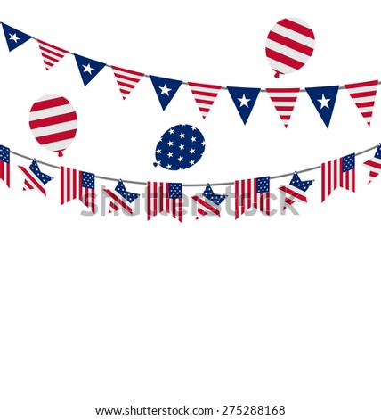 Illustration Hanging Bunting pennants for Independence Day USA, Patriotic Symbolic Decoration for Holiday - raster - stock photo