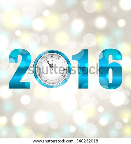 Illustration Happy New Year 2016, Midnight Shimmering Background with Clock  - raster - stock photo