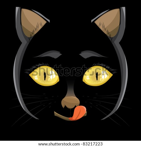 illustration. head of a black cat with yellow eyes on a black background