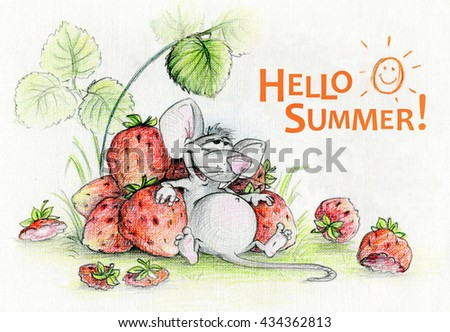 Illustration Hello Summer. The Full And Satisfied Funny Cartoon Mouse Ate  Ripe Strawberries To Satiety