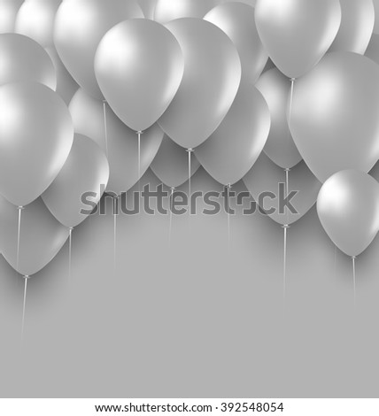 Illustration Holiday Background with White Balloons - raster