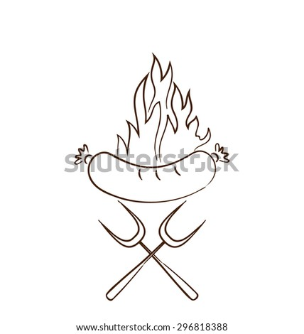Illustration hot sausage with flames isolated on white background - raster - stock photo