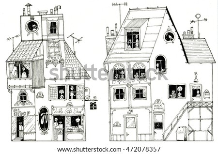 illustration houses English store gift shop old retro style people at windows