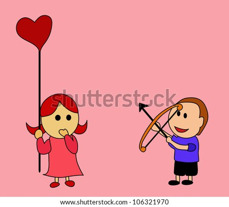Illustration - I want your heart.The boy shooting an arrow at her heart. - stock photo