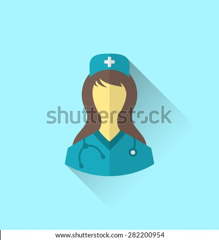 Illustration icon of medical nurse with shadow in modern flat design style - raster - stock photo