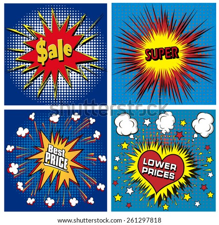 illustration icons in pop art style on the theme of sale price