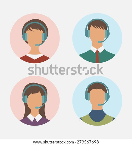 Illustration icons of call center operator  with  man and woman are featureless wearing headsets, in round web buttons - raster
