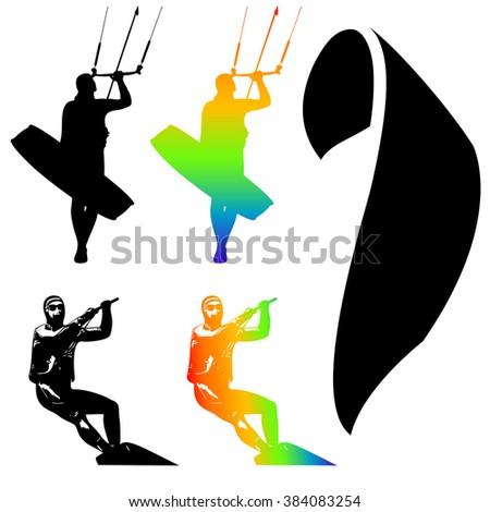 Illustration Icons of Kiteboarding. Extreme Sports.  - stock photo