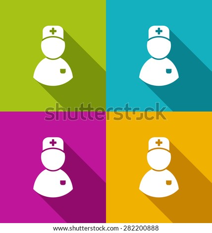 Illustration icons of medical doctor with shadow in modern flat design style - raster - stock photo
