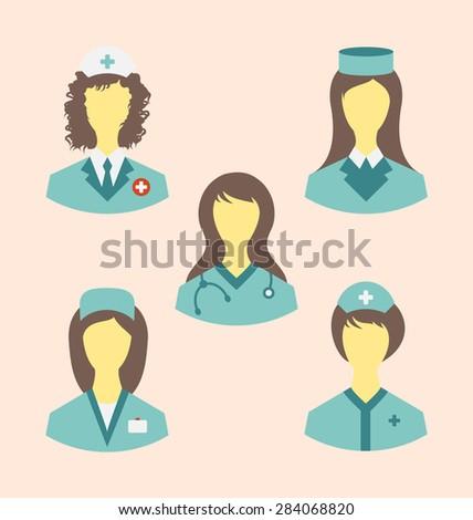 Illustration icons set of medical nurses in modern flat design style - raster - stock photo