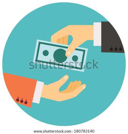 illustration in retro style, hand giving money to other hand - stock photo