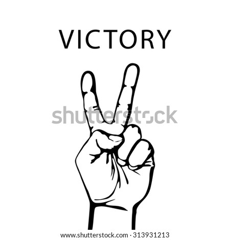 illustration in retro style of a hand with victory sign