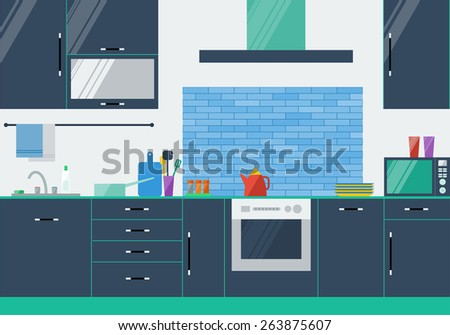 illustration in trendy flat style colors with kitchen interior for use in design. Raster copy