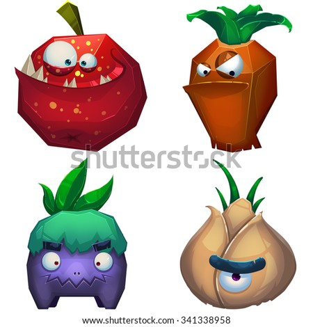 Illustration iSolated: Forest Monsters Set 2. Fruit Monster, Carrot Monster, Eggplant Monster, Garlic Monster. Realistic Fantastic Cartoon Style Character Design.  - stock photo