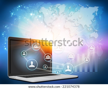 Illustration laptop with icons of people working as a team - stock photo
