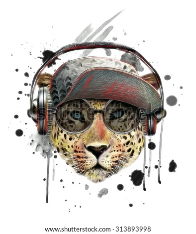 illustration leopard/T-shirt graphics/abstract watercolor like leopard/leopard graphics on a white background/wild leopard hunting/leopard print on canvas/illustration leopard listening to music - stock photo