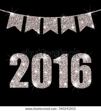 Illustration Light Background with Silver Surface and Bunting Pennants for Happy New Year 2016 - raster - stock photo