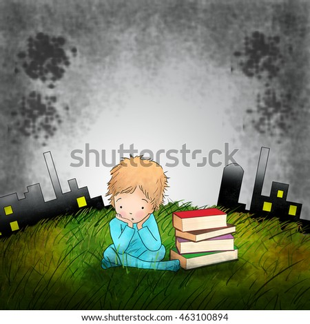illustration little boy is sitting with books in the green field against toxic industrial background