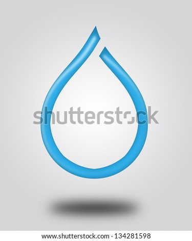 Illustration. Logo - a Drop of water and shadow. - stock photo