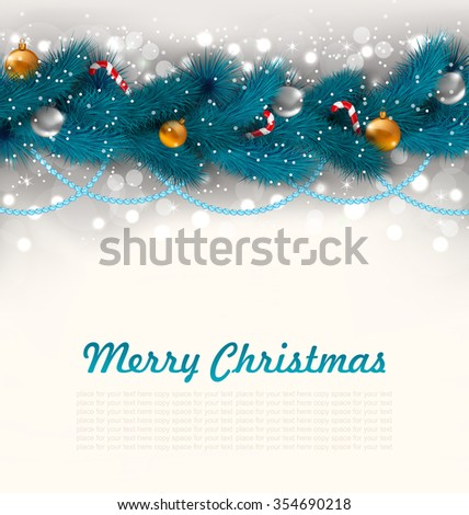 Illustration Merry Christmas Background with Fir Branches, Glass Balls and Sweet Canes - raster - stock photo