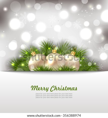 Illustration Merry Christmas Card with Fir Twigs and Golden Balls - raster - stock photo