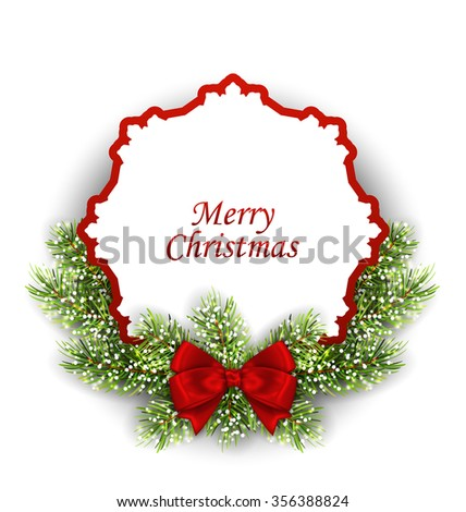 Illustration Merry Christmas Greeting Card with Fir Twigs and Bow, Isolated on White Background - raster - stock photo