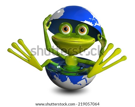 illustration merry green frog in the globe with water - stock photo