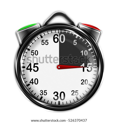Illustration metallic stopwatch with two buttons, 15 seconds. Stopwatch with black and white dial.