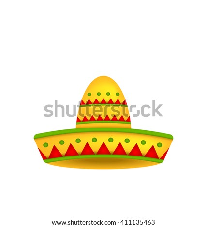 Illustration Mexican Hat Sombrero Isolated on White Background. Symbol of Mexico - raster