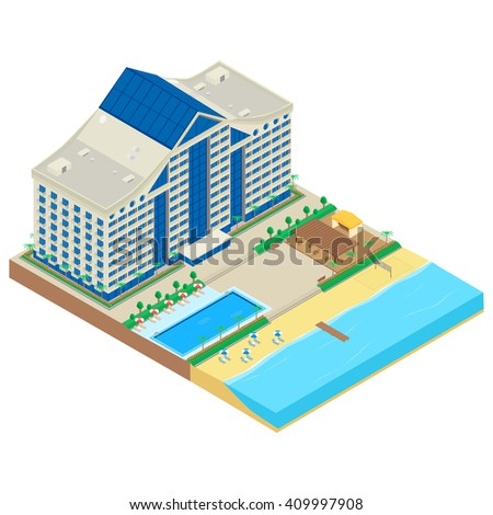 illustration. Modern hotel on the seafront. hotel building, beach, deckchair, parasol, cafe, swimming pool. Infographics, isometric