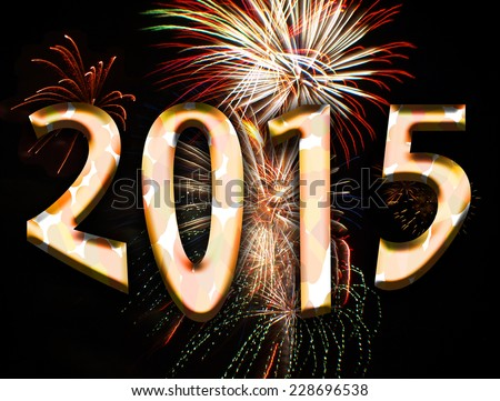 illustration motif of text spelling 2015 and fireworks for the new years eve celebration of the year 2015 - stock photo