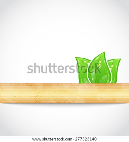Illustration natural background with eco green leaves and wood - raster - stock photo