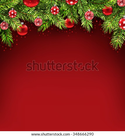 Illustration Natural Christmas Framework with Fir Twigs and Glass Balls, Copy Space for Your Text - raster - stock photo