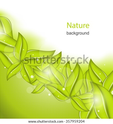 Illustration Nature Background with Eco Green Leaves - raster