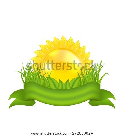 Illustration nature symbols -  sun, green leaves, grass, ribbon - raster - stock photo