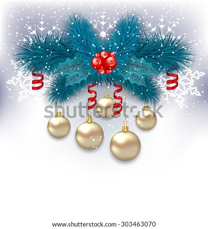 Illustration New Year background with fir branches and glass balls - raster - stock photo