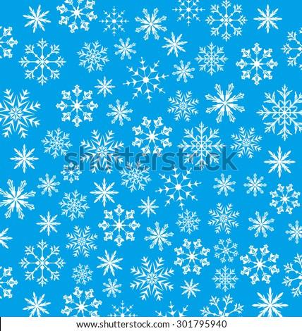 Illustration New Year blue wallpaper, snowflakes texture - raster - stock photo