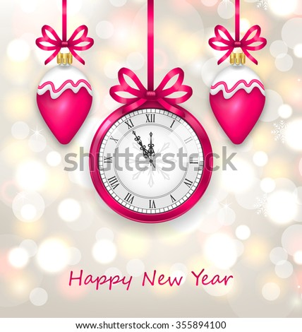 Illustration New Year Midnight Glowing Background with Clock and Christmas Balls - raster - stock photo