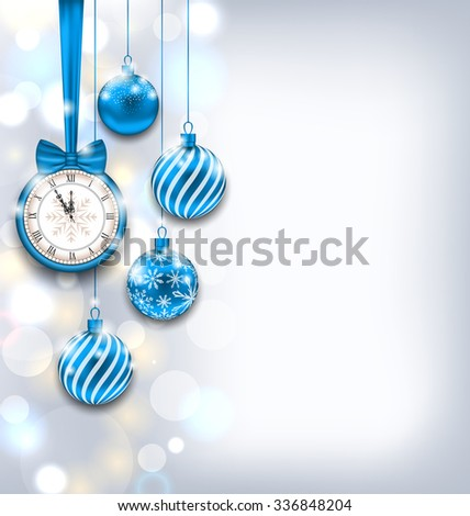 Illustration New Year Shiny Background with Clock and Glass Balls, Glowing Wallpaper - raster - stock photo