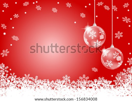 illustration of a abstract red snowflake background with two christmas baubles