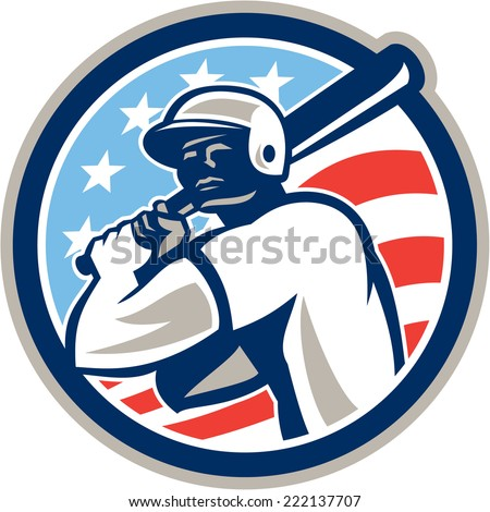 Illustration of a american baseball player batter hitter holding bat set inside circle with stars and stripes in the background done in retro style.